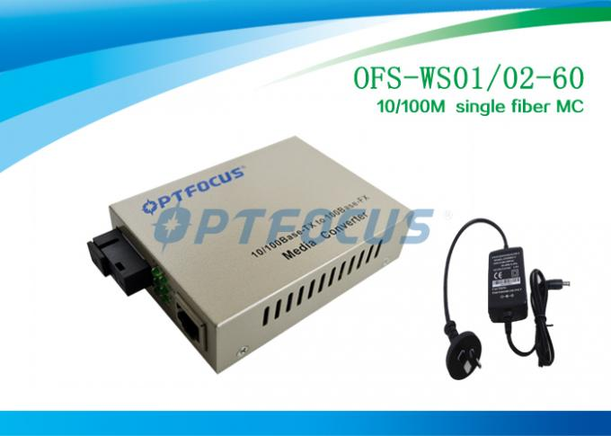 Ethernet Fiber Media Converter SC Single Fiber Single Mode 60KM