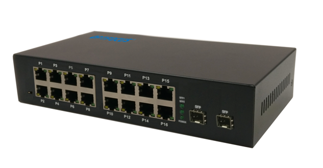 Multi ports Optical Ethernet Switch 2 1000M FX ports and 16 10M / 100M TX RJ45 ports