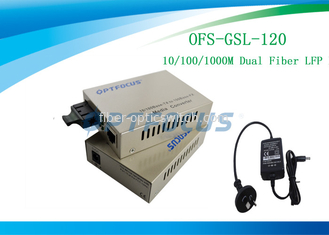 China 10 / 100M Dual Fiber Media Converter 120Km SC SM  External Power 1310 nm factory