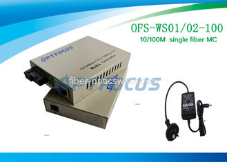 China Single Fiber SM SC Fiber Media Converter , 100KM 10 / 100M External PS factory