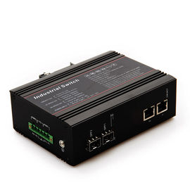 China Metal POE fiber Industrial Grade Switches 2 giga fiber ports 2 10 / 100 / 1000M rj45 ports factory