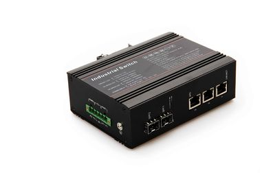 China PoE fiber 5 Port Industrial Ethernet Switch 2 gigabit fiber ports 3 10 / 100 / 1000M rj45 ports factory