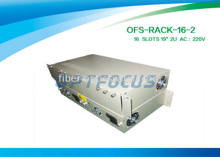 19'' Fiber Media Converter Rack 16 Slots 2U AC220V DC - 48V  Card Module Type supplier