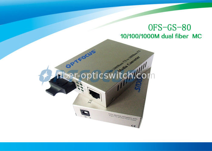 Gigabit Ethernet Media Converter / Fiber To Rj45 Media Converter Single Mode 80Km supplier