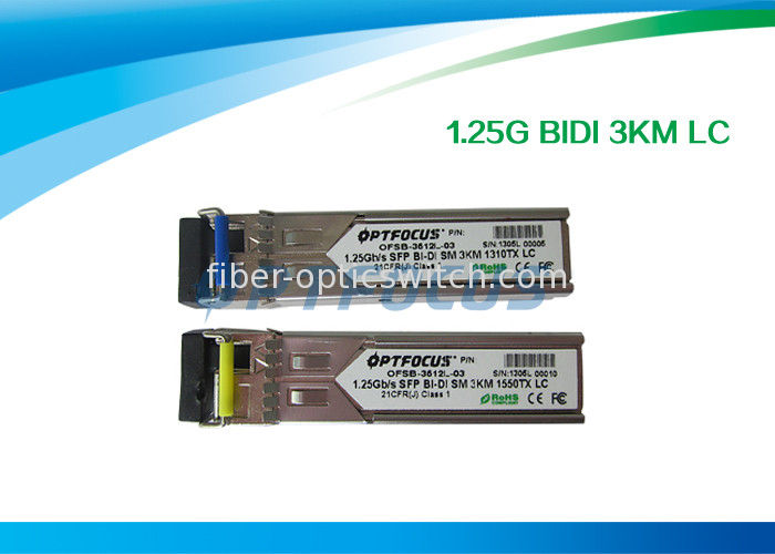 Gigabit Ethernet SFP Optical Transceiver / Fiber Optic Transceiver 1.25G Bi-Di 3km LC Connector supplier