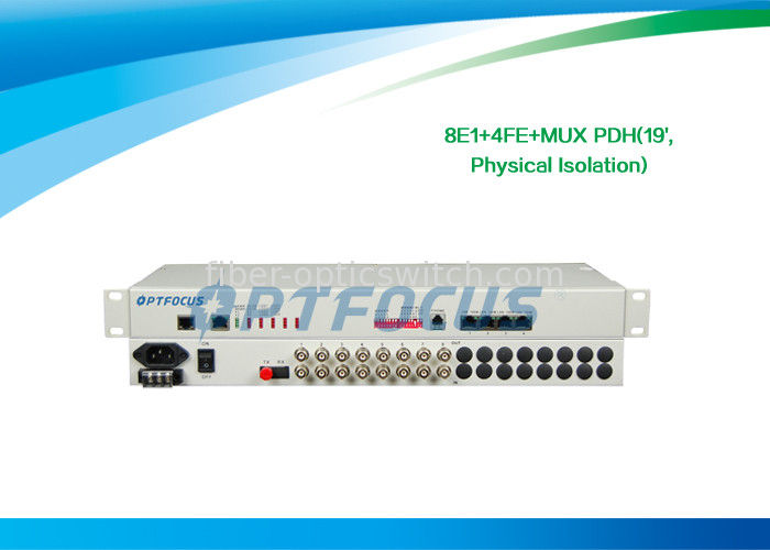 "RJ45 8 E1 PDH Multiplexer / Fiber Optical Multiplexer Ethernet Multiplexing Auto - MDIX 19"" Rack supplier"