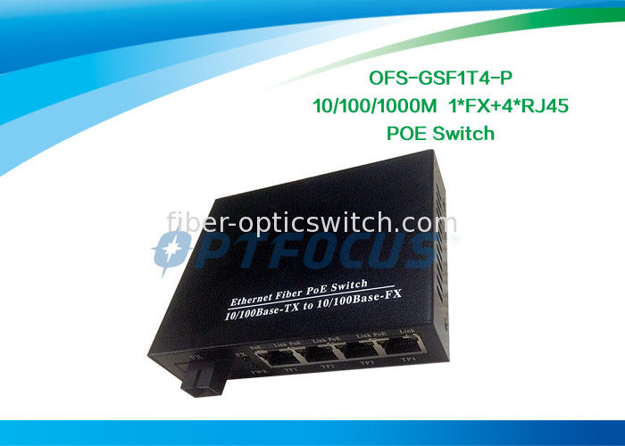 1FX + 4UTP 5 Port Gigabit Poe Switch Single Mode1310nm 20KM SC DF SM 10/100M UTP supplier