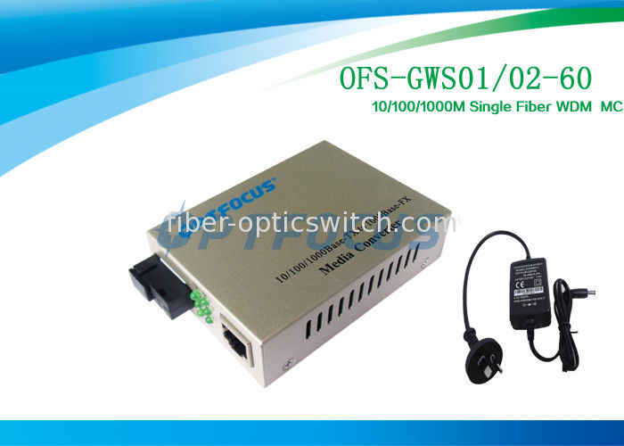 Single Fiber Media Converter Gigabit 10 / 100 / 1000 Base - FX SM SC 60Km supplier