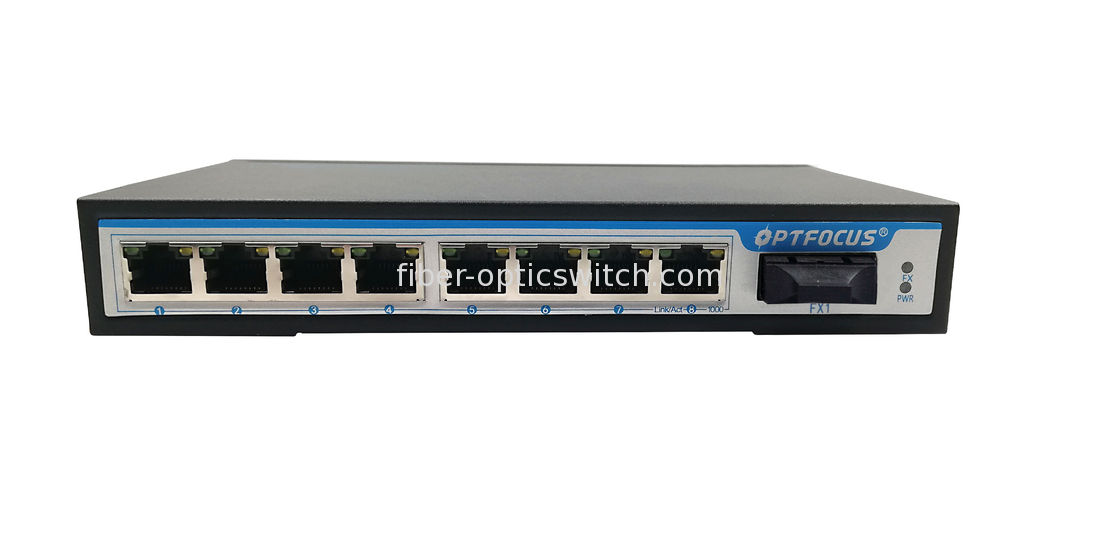8 Port Gigabit Fiber Optic Switch , Dual Fiber Optical Network Switch 20KM