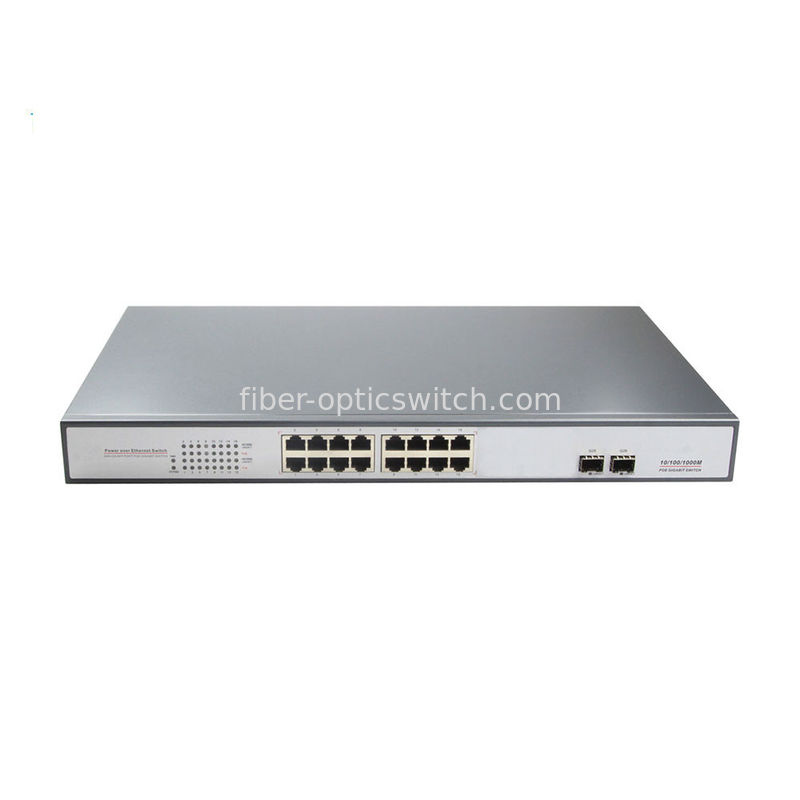 fiber Optic Switch 16 ports POE Switch with 2 SFP fiber ports for data center using