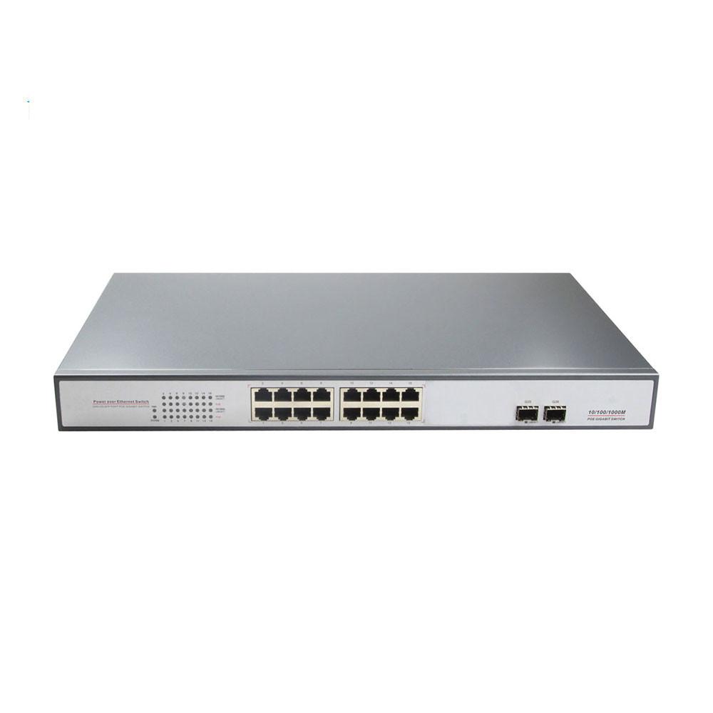 fiber Optic Switch 16 ports POE Switch with 2 SFP fiber