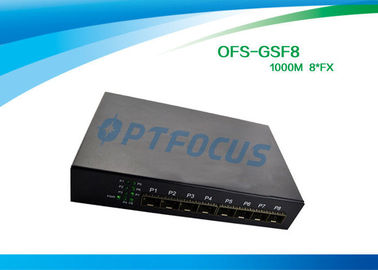 8 Port 12 Gbe SFP Fiber Optic Ethernet Switch 100 BASE - Fx DC5V 1A Power supply